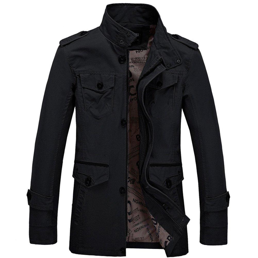 Yollmart Mens Cotton Lightweight Jacket Wind Trench Coat Outdoor Jacket