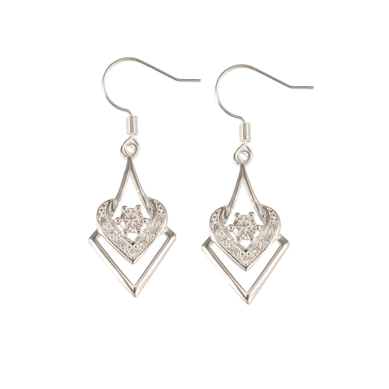 joyliveCY 2018 Fashion Women's Elegant 925 Silver Plated Stud Dangle Earings Eardrop Square Compatible With Zircon Heart CY-Buity joyliveCY3570