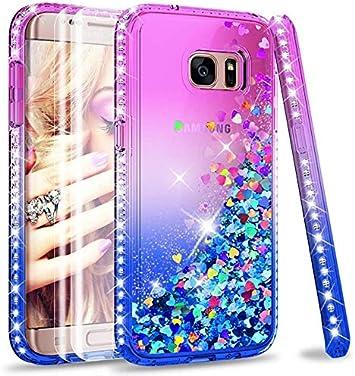 LeYi Coque Galaxy S7 Edge Etui avec Pet Protection écran [Lot de 2], Fille Personnalisé Liquide Paillette Flottant Transparente 3D Silicone Gel ...