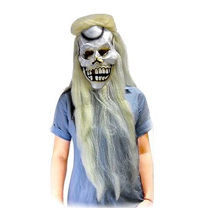 Cabello largo Unmerciful de Halloween Máscara de la Muerte-cabeza blancuzco