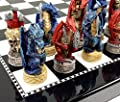 Medieval Dragon Gothic Fantasy Red & Blue Chess Set W/ High Gloss Black & White Board
