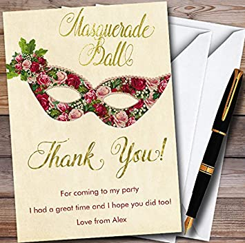 Red Roses Gold Masquerade Ball Personalized Party Thank You Cards