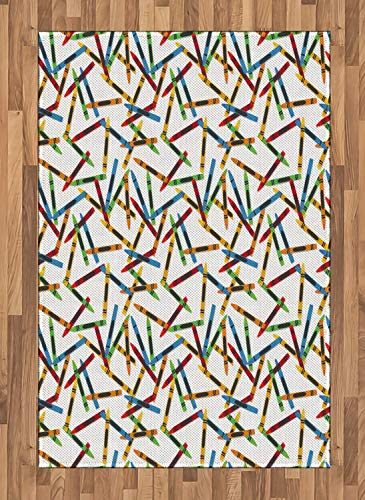 (Crayon Area Rugs 4'x5.7'ft,Continuous Childish Pattern of Cartoon Drawn Painting Crafts on Plain Background Non Skid Floor Mat Carpet Entry Throw Runners Rug,Multicolor)