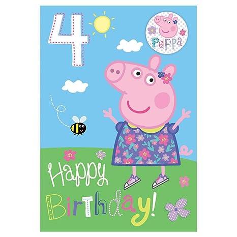 Nuevo Peppa Pig Edad 4/4th Tarjeta de cumpleaños con ...