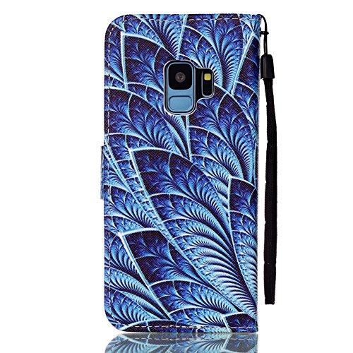 Hülle für Samsung S9, Galaxy S9 Brieftasche Schutzhülle, Aeeque Romantisch Pink Kirsch Muster Flip Tasche im Bookstyle mit Kartenfach Trageschlaufe Kunstleder Handyhülle Etui Wallet Case Cover Schale  Helicoidal Blätter blau