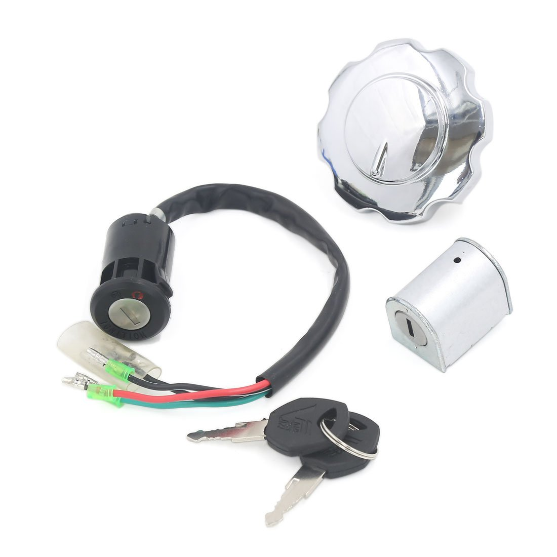 uxcell Motorcycle Ignition Switch Fuel Tank Cap Lock Set w Keys by uxcell