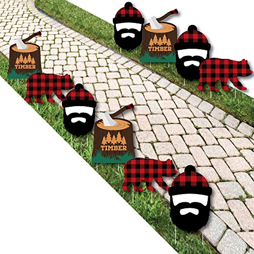 Big Dot of Happiness Lumberjack - Channel the Flannel - Bear and Lumberjack Lawn Decorations - Outdoor Buffalo Plaid Yard Decorations - 10 Piece]()