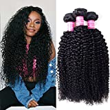 Cheap VRVOGUE 8A Brazilian Curly Virgin Hair 3 Bundles Weave 100% Unprocessed Brazilian Virgin Kinky Curly Human Hair Weave 8 -28 Inch Natural Color Can Be Dyed (20 20 20)
