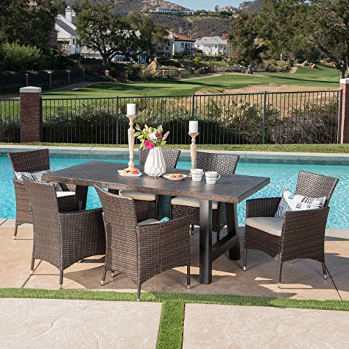 (Great Deal Furniture 303928 Muriel Outdoor 7 Piece Multibrown Wicker Set with Brown Stone Finish Light Weight Concrete Dining Table and Beige Water Resistant Cushions, Black)