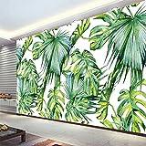 LWCX Asia Tropical Rain Forest Fresh Green Banana Leaf Photo Wallpaper Restaurant Clubs Ktv Modern Creative 3D Murals Silk Fabric Material 430X280CM