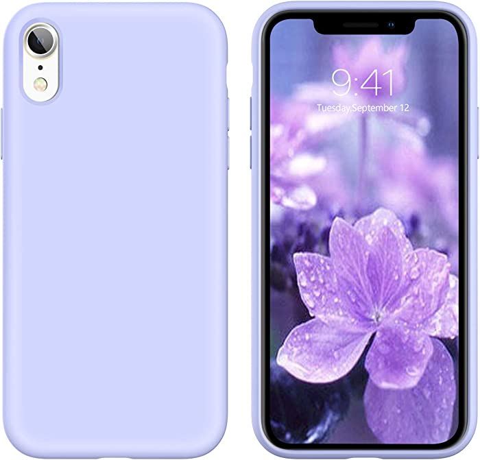 YINLAI iPhone XR Case Slim Silicone Non Slip Grip Soft Gel Rubber Cover Shockproof Protective Bumper Hybrid Hard Back Protection Durable Girly Women Phone Case for iPhone XR, Purple/Lavender