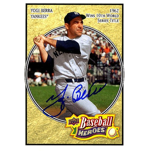 Yogi Berra Signed 2008 Upper Deck Baseball Heroes 1962 Wins 10th WS Title Card