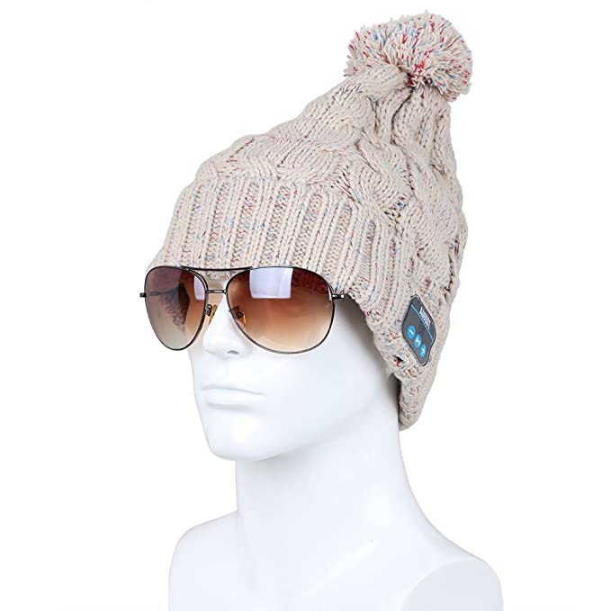 Image Unavailable. Image not available for. Color  August EPA30 Bluetooth Headphone  Cable Knit Hat ... ea332972aa6