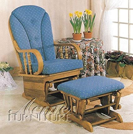 Glider Rocker Chair With Ottoman Blue Cushion Oak Finish