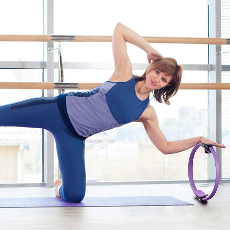 HebyTinco Cerchia di Pilates Anello ausiliario dello Yoga Strumento per Training per Un Training di Forza e di Resistenza Efficace 38cm Cerchi per Pilates