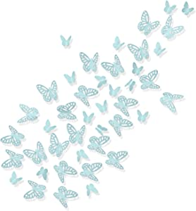 Luxbon 100Pcs 3D Vivid Cardboard Paper Hollow Butterfly Matt Effect Wall Stickers Art Crafts Decals Butterflies Home DIY Improvement Decor Mural Light Blue