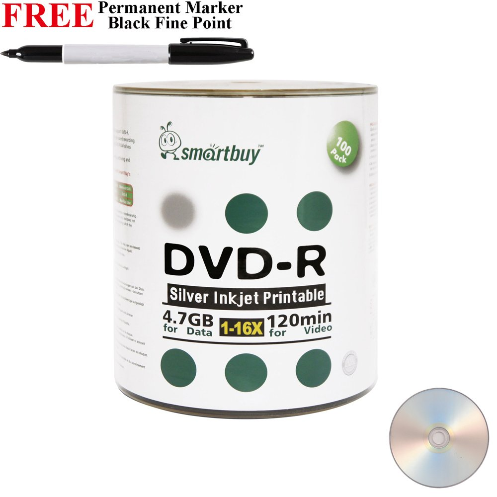 Smartbuy 100-disc 4.7GB/120min 16x DVD-R Silver Inkjet Hub Printable Blank Media Disc + Black Permanent Marker