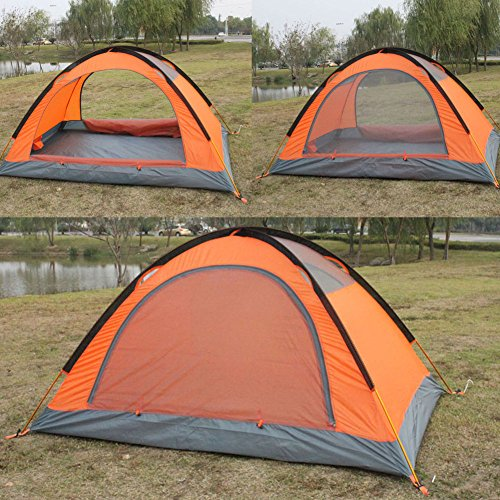 4-season 2-person Waterproof Dome Backpacking Tent For Camping Hiking Travel Climbing - Easy Set Up (Orange)