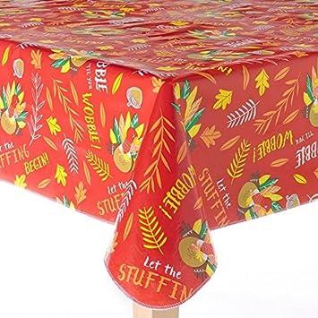 Beau Thanksgiving Harvest Turkey Vinyl Tablecloth 60 X 102 Oblong (Rectangle)