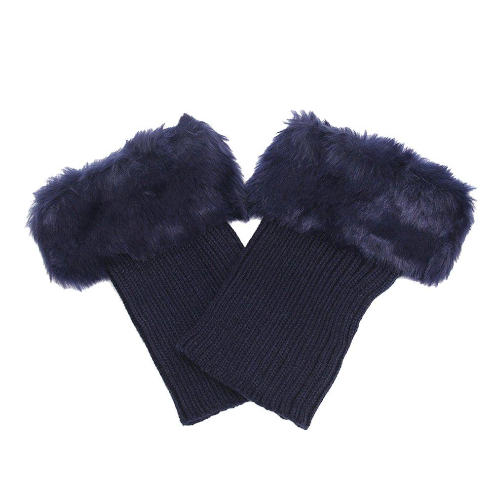 Butterme Faux Fur Leg accessori calze stivali invernali donne Scaldamuscoli Knit Stivali Calze Topper Cuff (Blu navy) ZUMUii