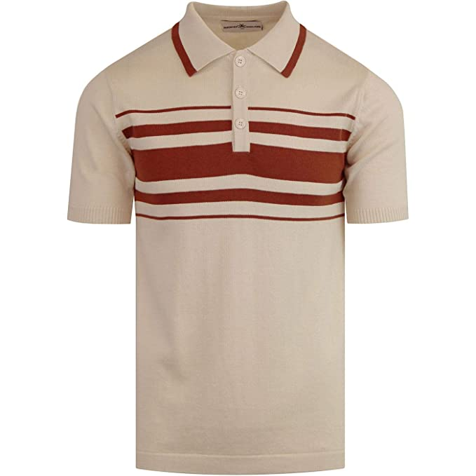 1960s – 70s Mens Shirts- Disco Shirts, Hippie Shirts Madcap England Mens Mod Aftershock Knitted Polo in Birch �34.99 AT vintagedancer.com