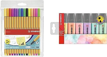 Rotulador punta fina STABILO point 88 Estuche con 15 colores (5 fluor) + STABILO BOSS Original PASTEL Marcador Estuche 6 colores: Amazon.es: Oficina y papelería