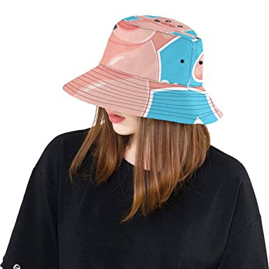 18968d6f3ea Funny Pig Cartoon Dabbing Dance New Summer Unisex Cotton Fashion Fishing  Sun Bucket Hats for Kid