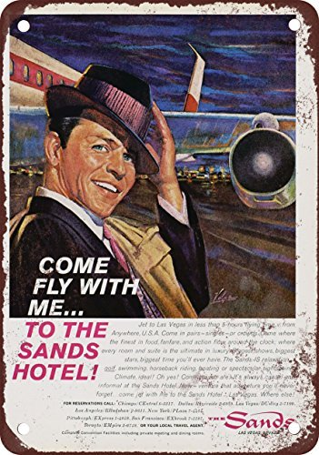- 1961 Frank Sinatra for the Sands Hotel Las Vegas Vintage Look Reproduction Metal Tin Sign 8X12 Inches