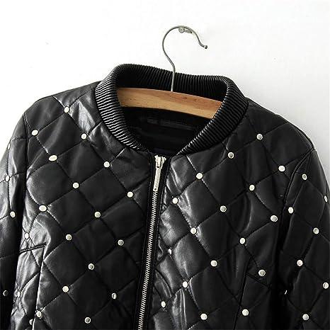 HYDSFG Leather Jacket Women Black Bomber Lozenge Winter Leather Jacket Motorcycle Coat Femininas at Amazon Womens Coats Shop
