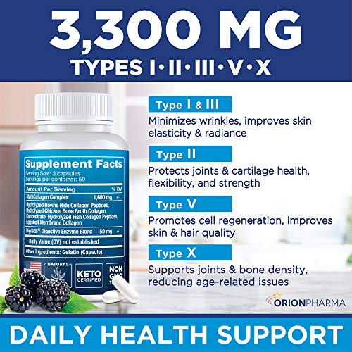 Multi Collagen Pills (Types I, II, III, V & X) - Marine Collagen & Bone Broth Capsules - Made in USA - Grass Fed Collagen Peptides - Anti-Aging Collagen Supplements - Hydrolyzed Collagen Capsules