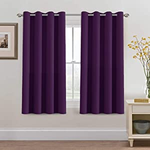 H.VERSAILTEX Blackout Curtains 63 Inch Length Purple Drapes Curtains Elegant for Living Room, Thermal Insulated Small Curtain for Winter/Christmas Holiday, Grommet Top, One Panel