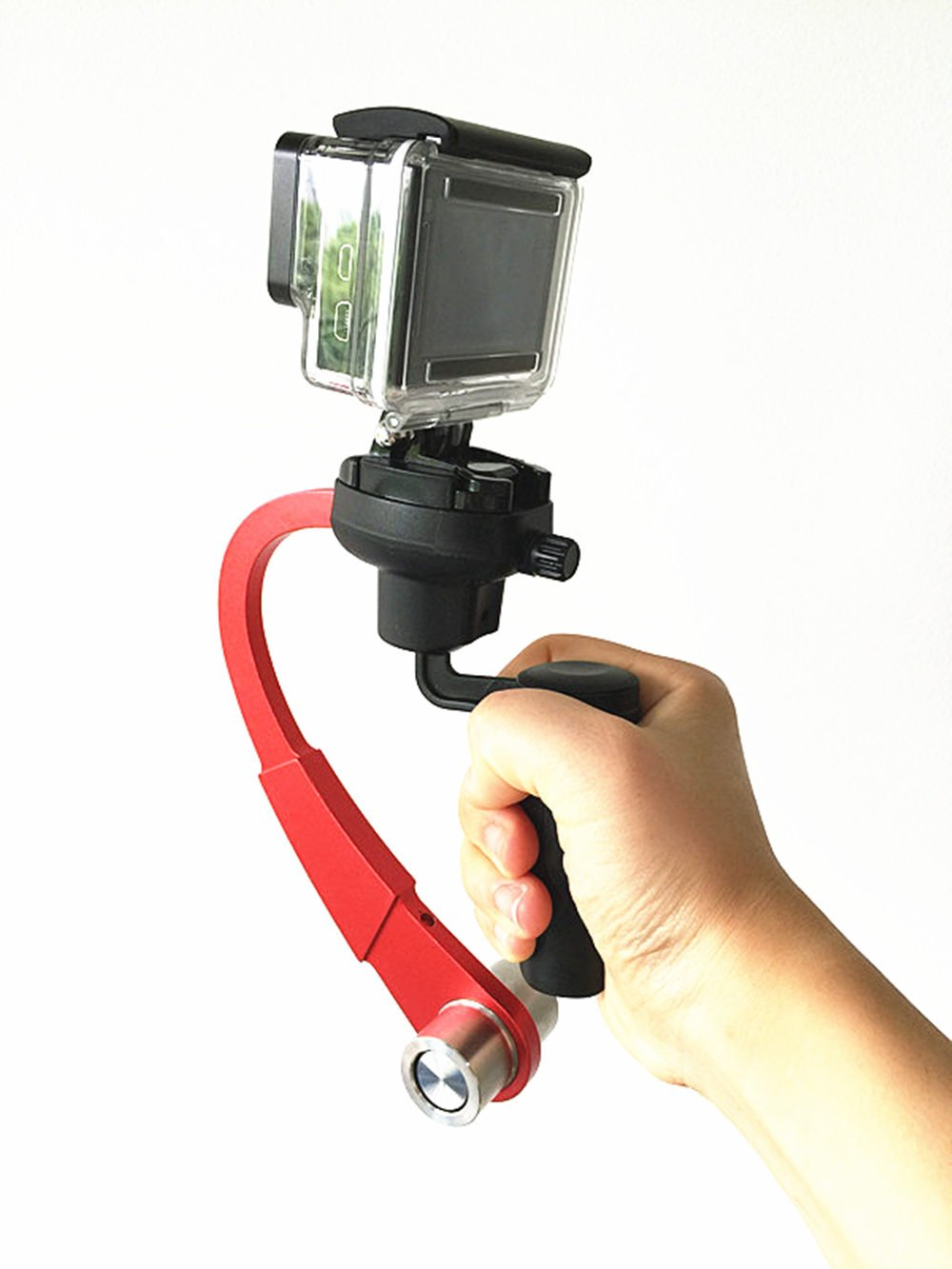 JINSE Mini Handheld Stabilizer and grip for Gopro Hero 4/3+/3/2 Sj4000 (Red)