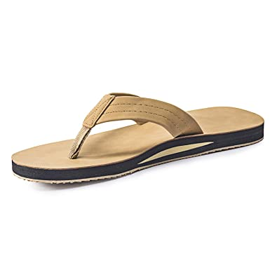 ae4f96705355c9 FITORY Mens Flip Flops Leather Thongs Surf Sandals Beach Pool Summer Shoes