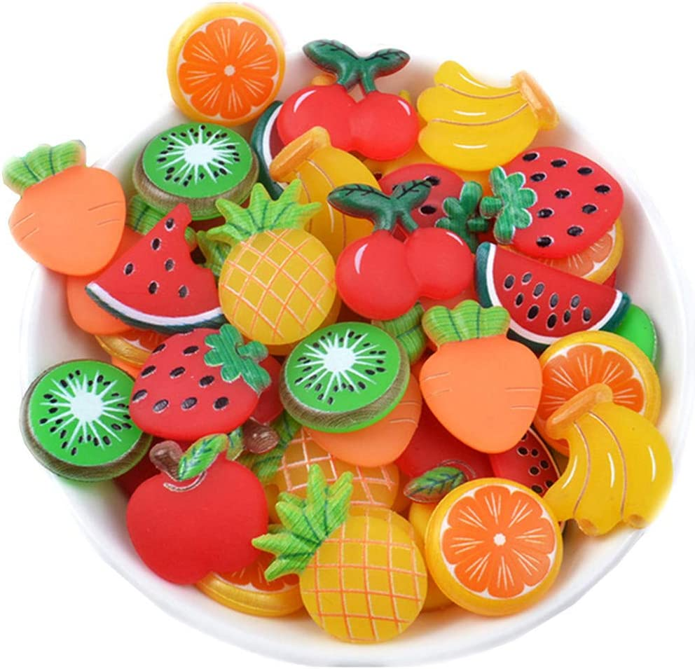 50 Pack Fruit Vegetable Slime Charms Resin Flatbacks Buttons Polymer Clay Beads for Miniature Fairy Garden Hair Accessories Home Decorations (Mixed)