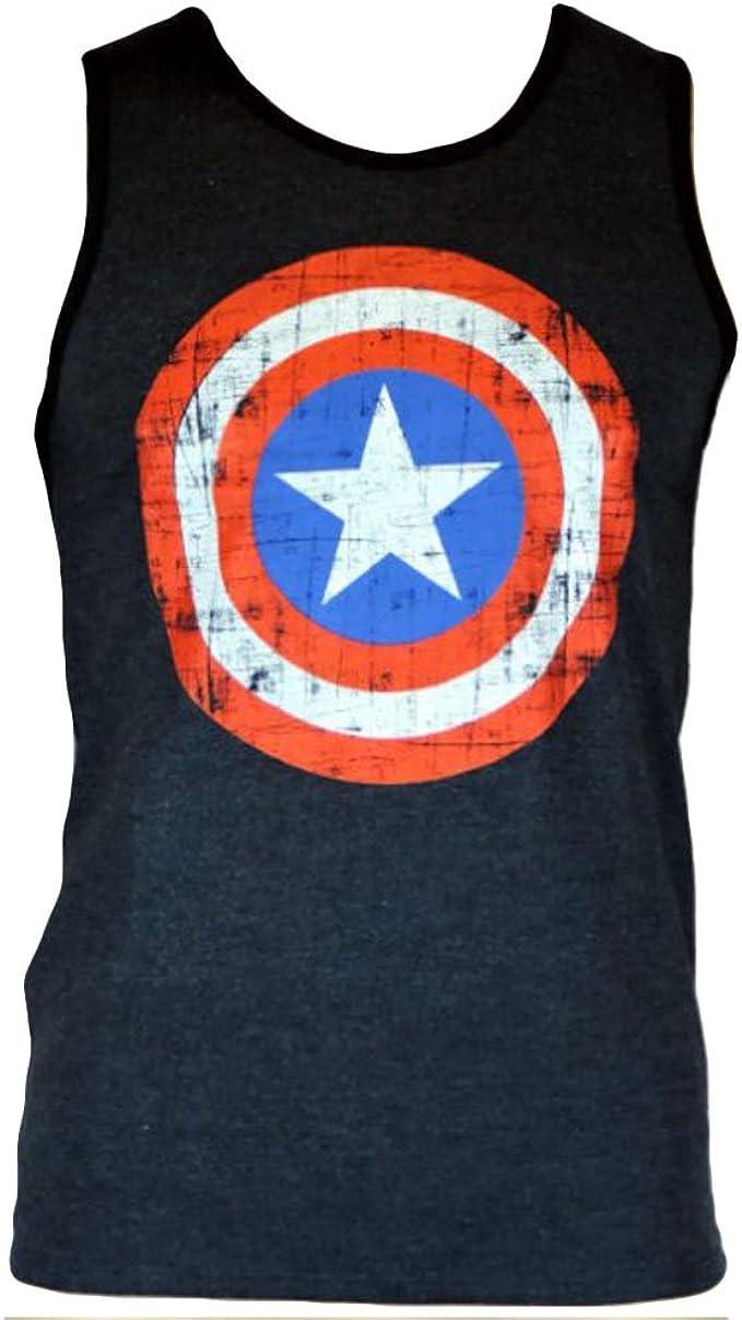 Marvel Comics Capitán América Hombre Tank Top – Marina Shield steelysports Color Azul moteado