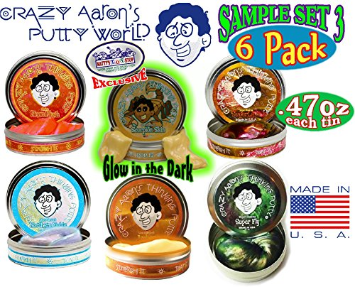 Crazy Aaron's Thinking Putty Mini Tin Gift Set Bundle (Sample Set 3) with Super Fly, Neon Flash, Northern Lights, Super Lava, Amber & Exclusive
