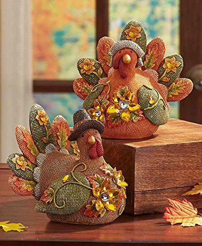 Turkey Harvest Couple Mr. And Mrs.Glittery Jeweled Colorful Burlap Texture Fall Figures