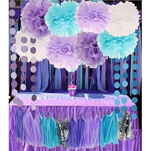 Mermaid Under The Sea Decorations Purple Baby Blue Baby Shower Tissue Paper  Pom Pom Paper Tassel