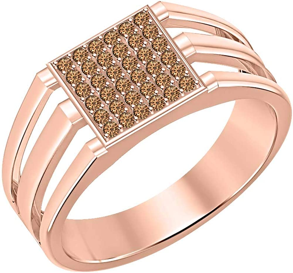 SVC-JEWELS 14k Rose Gold Plated 925 Sterling Silver Brown Smoky Quartz Cluster Engagement Wedding Band Ring Mens