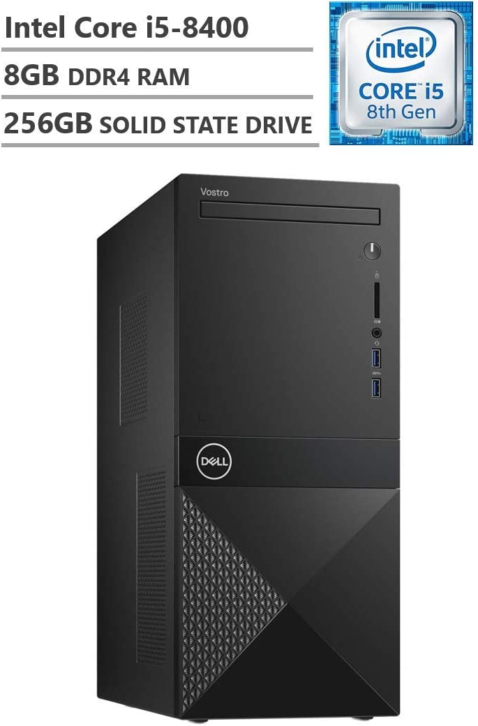 Dell Vostro Business Desktop, Intel Core i5-8400 2.80GHz Processor (9MB Cache, Up to 4.00GHz), Intel UHD Graphics 630, 8GB Memory, 256GB Solid State Drive, DVD, HDMI, Windows 10 Pro, Black