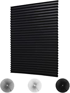 """LUCKUP 2 Pack Cordless Light Filtering Pleated Fabric Shade,Easy to Cut and Install, with 4 Clips (48""""x72"""" - 2 Pack, Black)"""