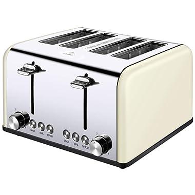 4 Slice Toaster, Cream