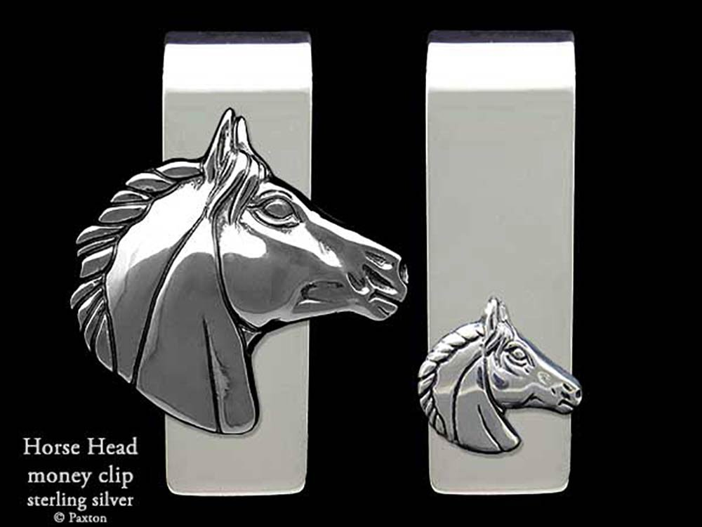 Horse Head Money Clip in Solid Sterling Silver Hand Carved, Cast & Fabricated by Paxton