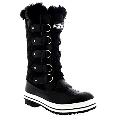 Polar Womens Snow Boot Nylon Tall Winter Fur Lined Snow Warm Waterproof  Rain Boot - Black f8118f8ed