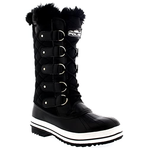 9dad815f4315 Polar Products Womens Snow Boot Nylon Tall Winter Fur Lined Snow Warm  Waterproof Rain Boot -