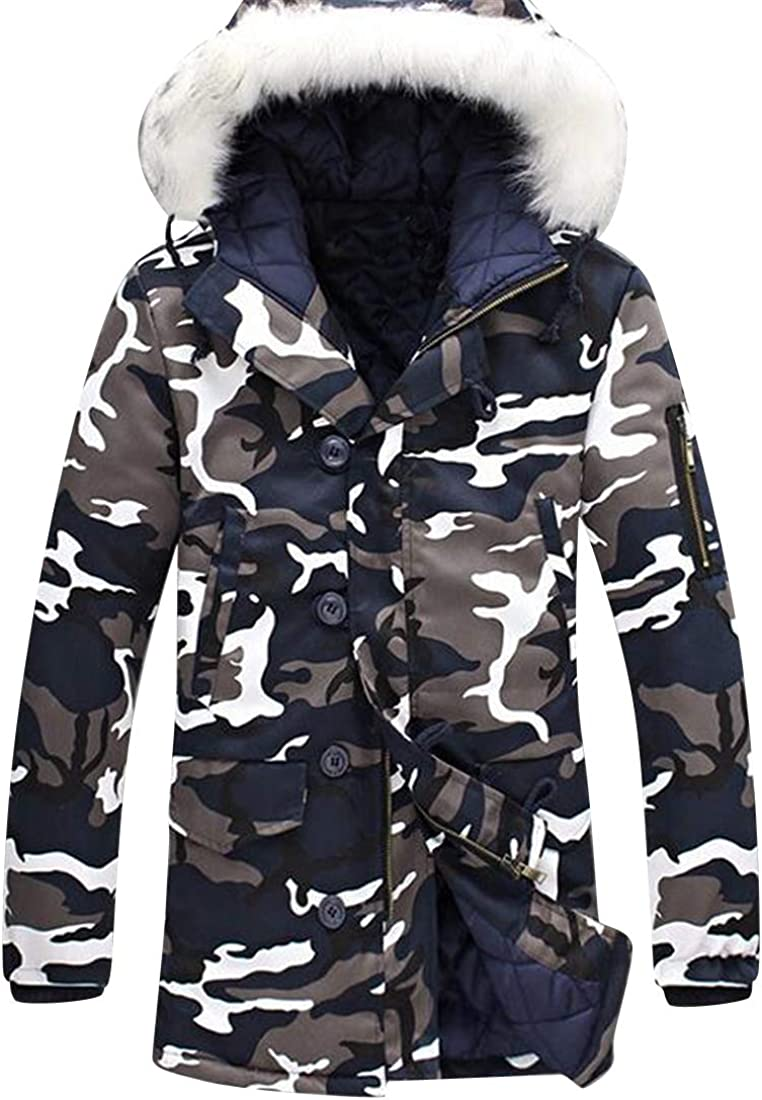 Fubotevic Men Faux Fur Hoodie Mid Length Plus Size Full-Zip Quilted Jacket Parka Coat Outerwear