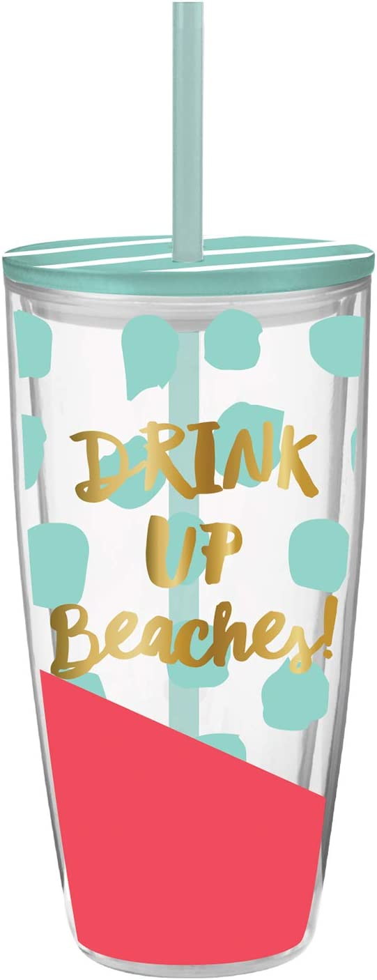 Creative Brands Slant Collections - Acrylic Double-Wall Travel Tumbler, 22-Ounce, Drink Up