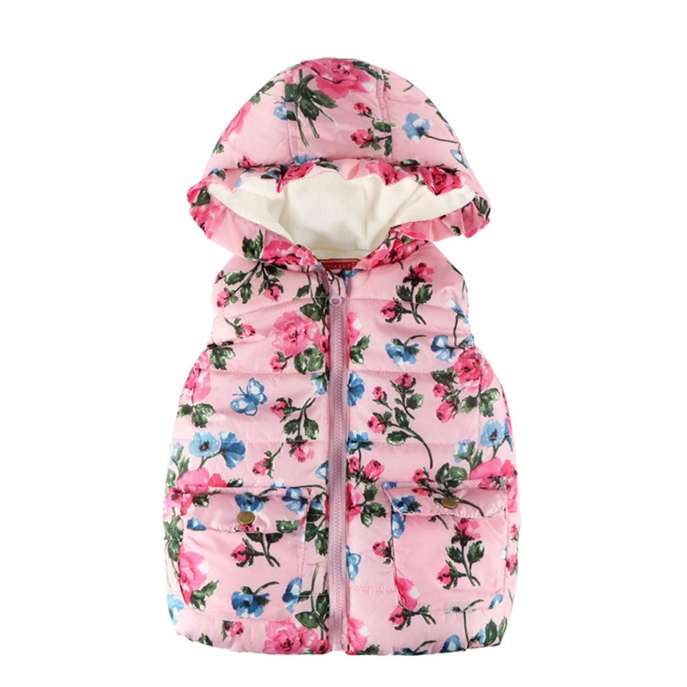 Yuutimko 2018 Children's Toddler Kids Baby Grils Boys Sleeveless Floral Print Hooded Zipper Warm Cotton Coat Tops Jacket