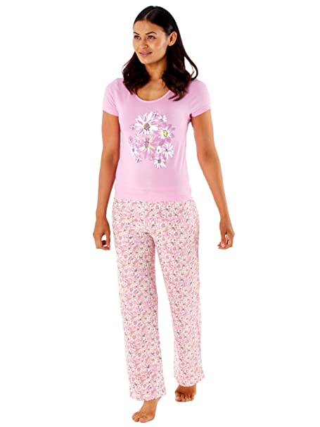 Selena Secrets mujer pijama algodón de manga corta largo ln406 Rosa rosa 48