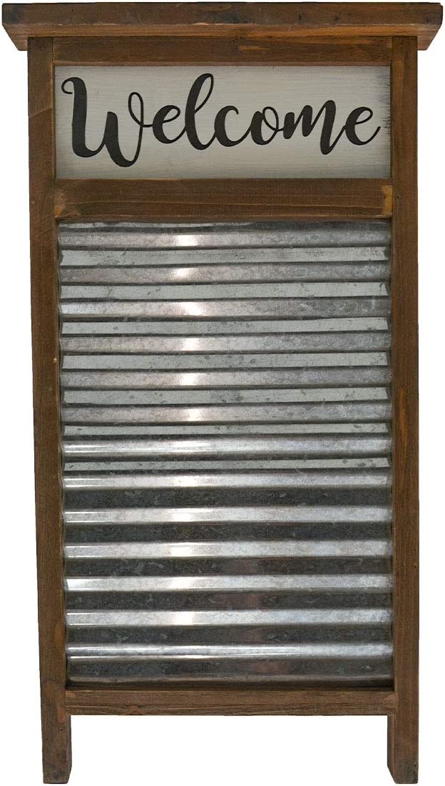 "Mission Gallery Large Country Chic 24""x13"" Galvanized Metal and Wood Welcome Washboard Decor"